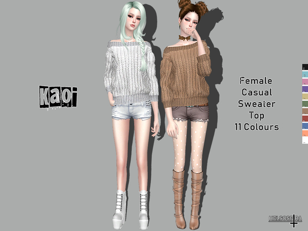 Sims 4 KAOI Casual Sweater Top by Helsoseira at TSR