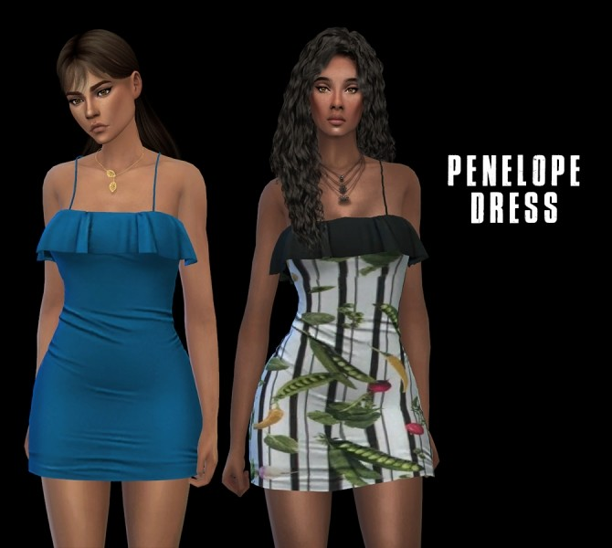 Sims 4 Penelope Dress (P) at Leo Sims