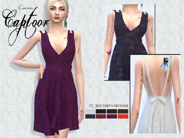 Sims 4 Deep V Neckline Backless Dress by carvin captoor at TSR