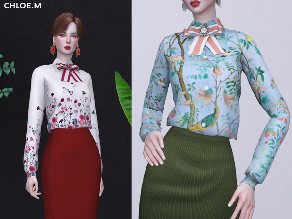 Sims 4 Bow tie Blouse by ChloeMMM at TSR