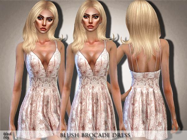 Sims 4 Blush Brocade Dress by Black Lily at TSR