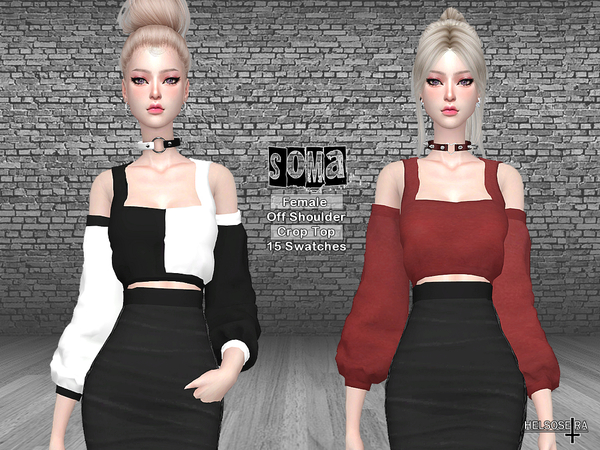 Sims 4 SOMA Off Shoulder Crop Top by Helsoseira at TSR