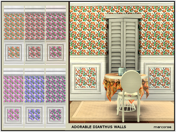 Adorable Dianthus Walls by marcorse at TSR image 268 Sims 4 Updates