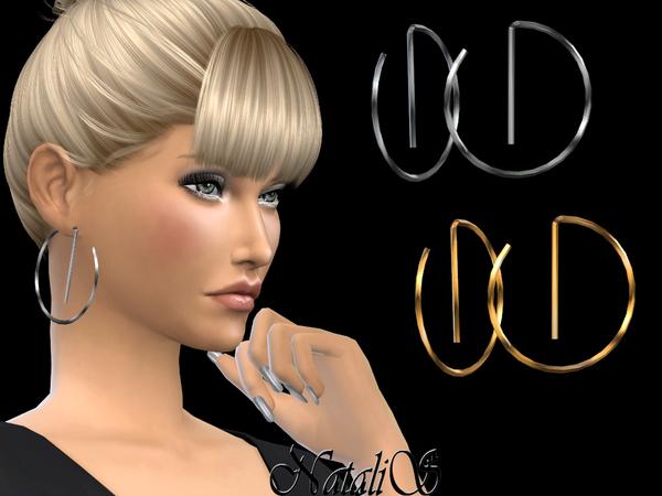 Sims 4 Geometric hoop earrings by NataliS at TSR