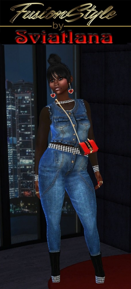 Sims 4 Denim Outfit at FusionStyle by Sviatlana
