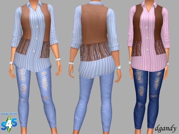 Sims 4 Vest, Shirt and Jeggings by dgandy at TSR