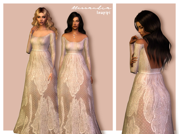 Sims 4 Alessandra gown by laupipi at TSR