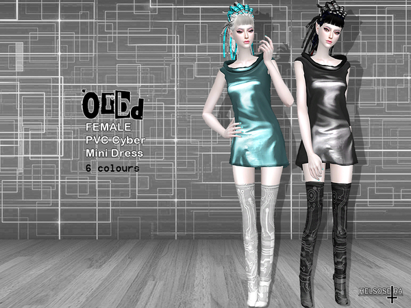 ORBD PVC Cyber Goth Mini Dress by Helsoseira at TSR image 296 Sims 4 Updates
