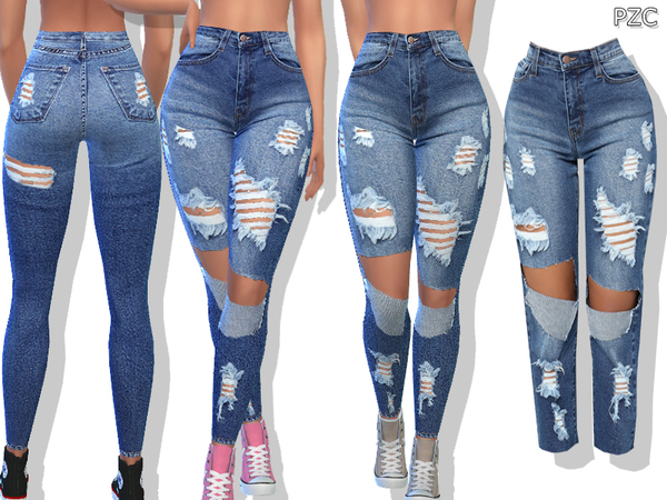 Sims 4 Medium Blue Denim Ripped Jeans by Pinkzombiecupcakes at TSR