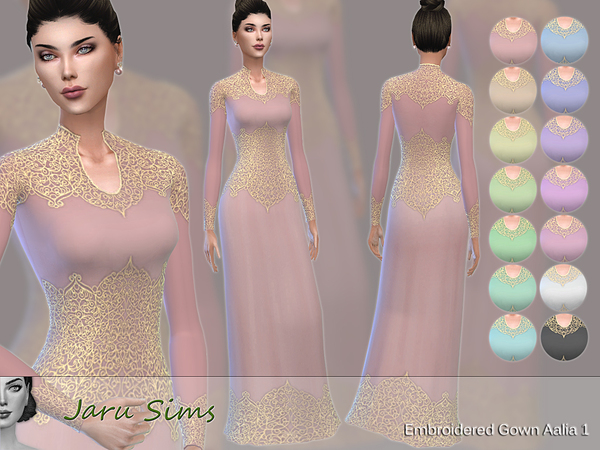 Embroidered Gown Aalia 1 by Jaru Sims at TSR image 330 Sims 4 Updates