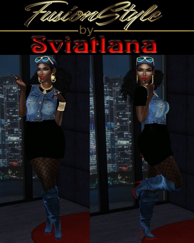 Sims 4 Black dress with denim sleeveless top at FusionStyle by Sviatlana