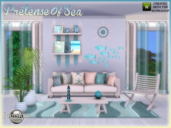 Sims 4 Pretense of sea interior living room garden by jomsims at TSR