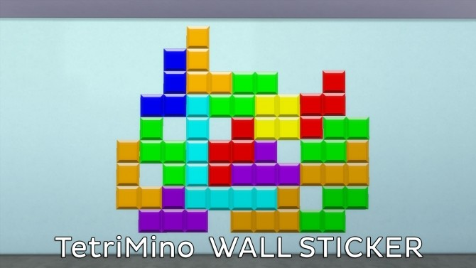 Tetris Wall Sticker by Ahinana at Mod The Sims image 373 670x377 Sims 4 Updates