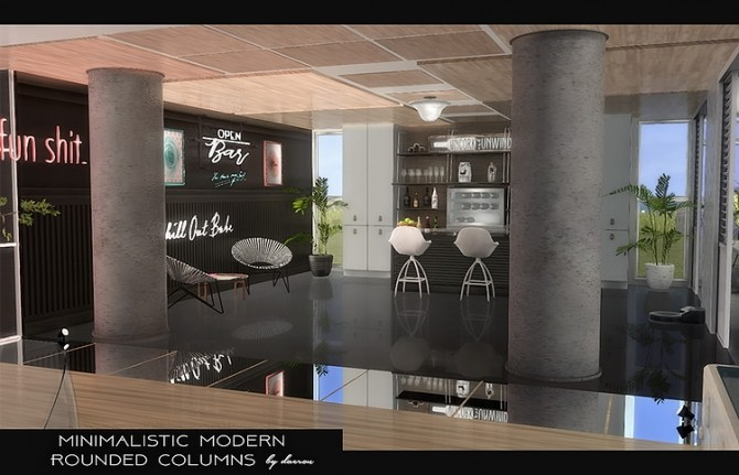 Minimalistic Modern Rounded Columns by daer0n at Blooming Rosy image 439 670x431 Sims 4 Updates