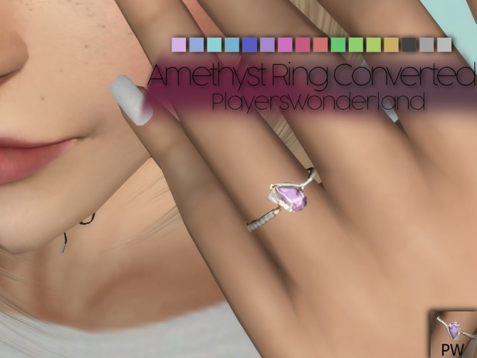 Sims 4 Amethyst Ring Converted at PW's Creations