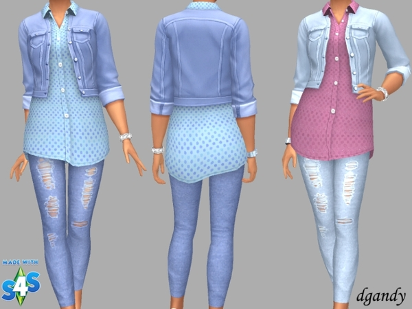 Sims 4 Jacket, Shirt and Jeggings by Dgandy at TSR