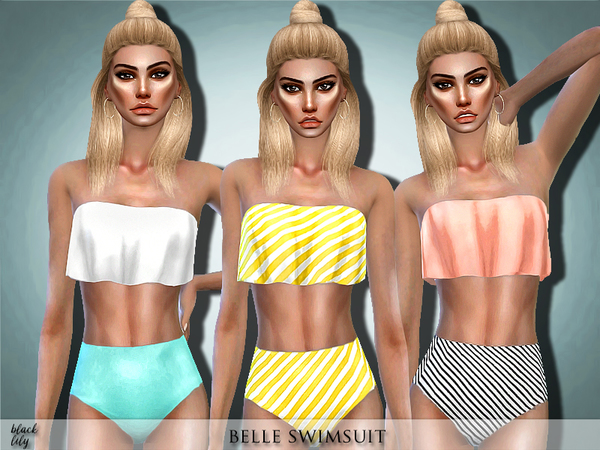 Belle Swimsuit by Black Lily at TSR image 4616 Sims 4 Updates