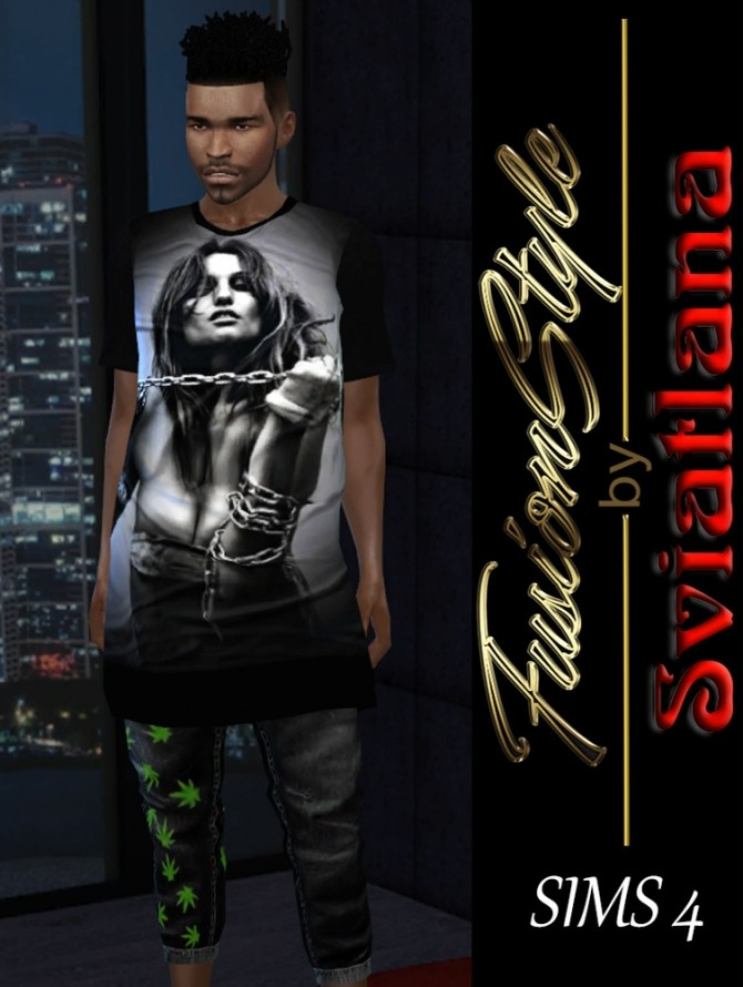 Sims 4 Long T shirt for men at FusionStyle by Sviatlana