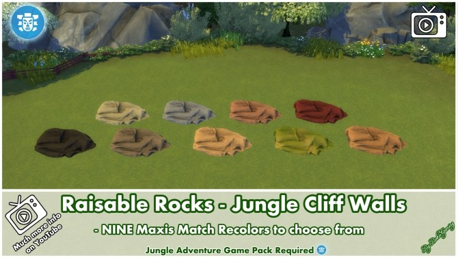 Sims 4 Raisable Rocks Jungle Cliff Walls by Bakie at Mod The Sims