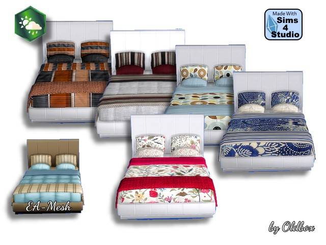 Sims 4 5 beds Recolors by Oldbox at All 4 Sims