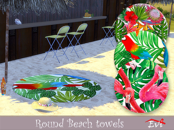 Sims 4 Round Beach Towels by evi at TSR