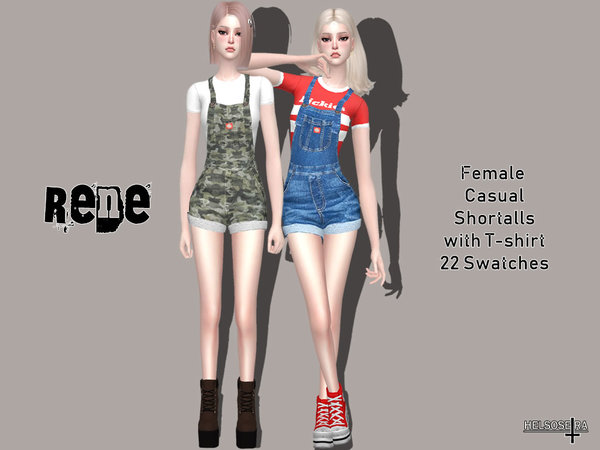 RENE Shortalls with T shirt by Helsoseira at TSR image 5515 Sims 4 Updates