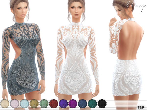 Sims 4 Open Back Short Sequin Dress by ekinege at TSR