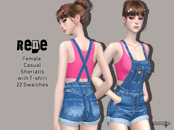 RENE Shortalls with T shirt by Helsoseira at TSR image 5616 Sims 4 Updates