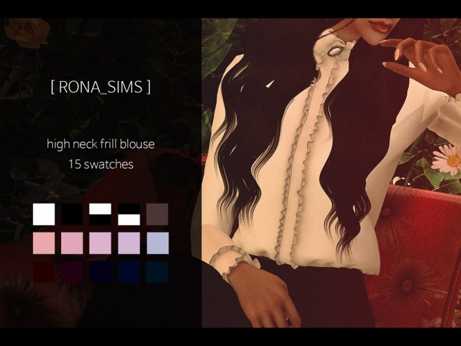 Sims 4 High neck frill blouse at Rona Sims