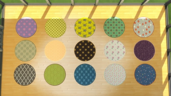 Sims 4 Colorful Japanese Rugs by araynah at Mod The Sims