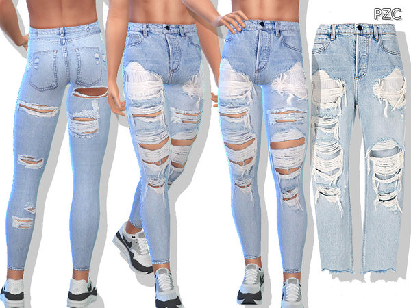 Blue Denim Ripped Jeans For Men By Pinkzombiecupcakes At