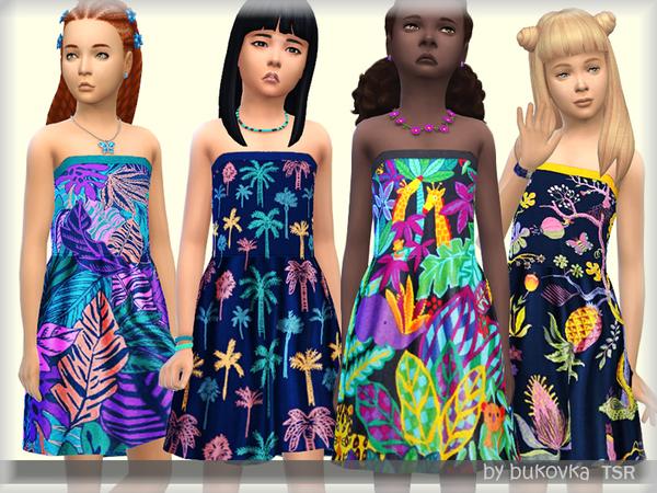 Sims 4 Dress Tropical Print by bukovka at TSR
