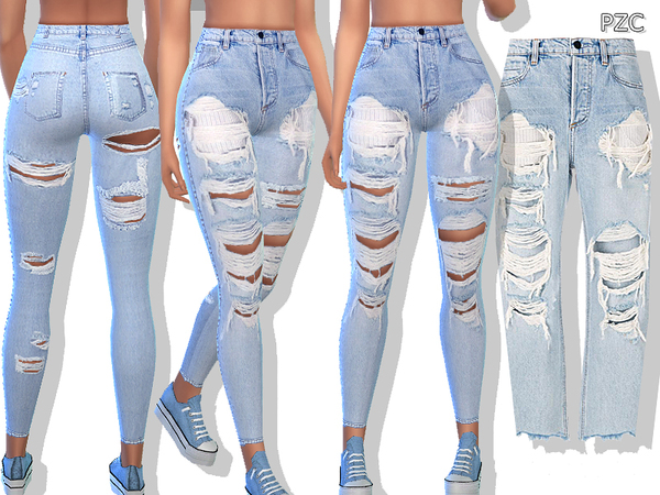 Blue Denim Ripped Jeans by Pinkzombiecupcakes at TSR image 636 Sims 4 Updates