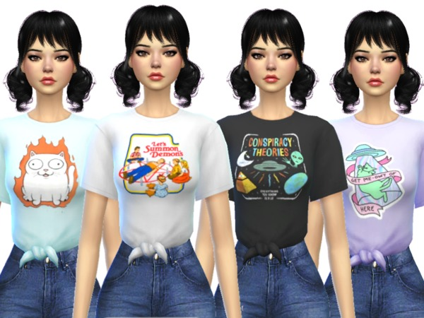Sims 4 Tied Tees by Wicked Kittie at TSR