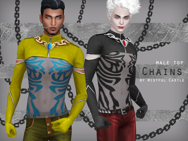 Chains male top by WistfulCastle at TSR image 7017 Sims 4 Updates