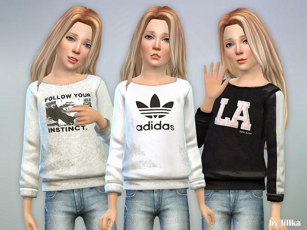 Sims 4 Printed Sweatshirt for Girls P33 by lillka at TSR