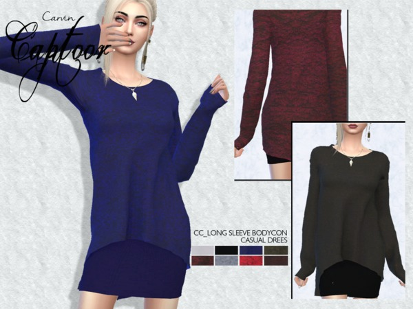 Long Sleeve Bodycon Casual Dress by carvin captoor at TSR image 750 Sims 4 Updates