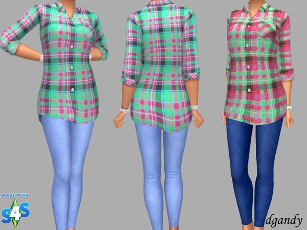 Sims 4 Shirt and Jeggings Without Rips by dgandy at TSR