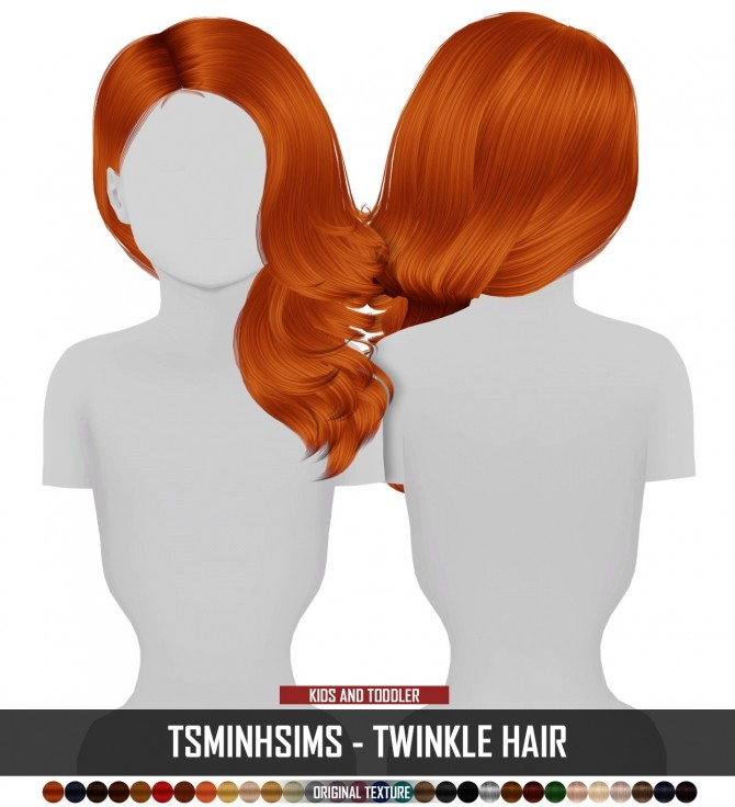 Sims 4 TSMINHSIMS TWINKLE HAIR KIDS AND TODDLER VERSION by Thiago Mitchell at REDHEADSIMS