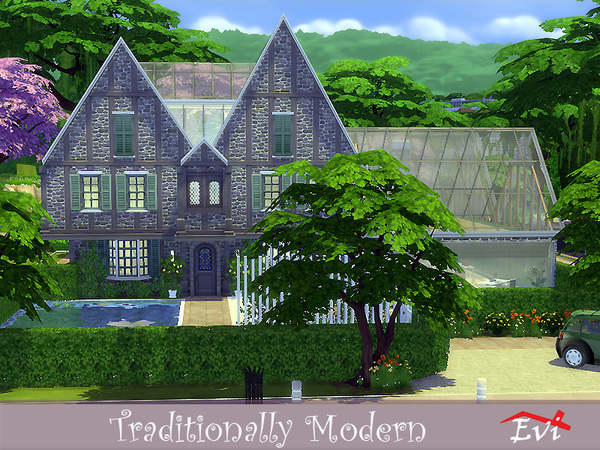 Sims 4 Traditionally Modern house by evi at TSR