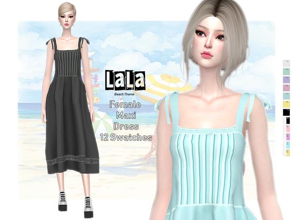 Sims 4 LALA Tie Strap Maxi Dress by Helsoseira at TSR