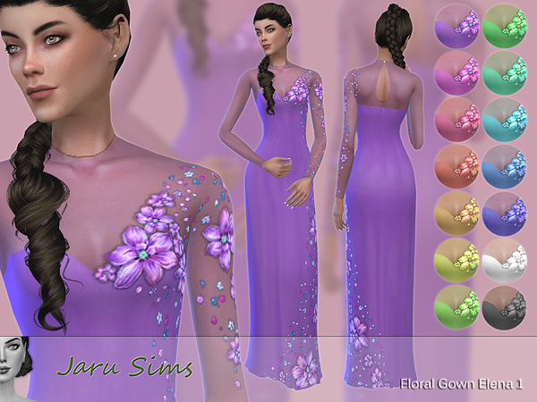 Sims 4 Floral Gown Elena 1 by Jaru Sims at TSR