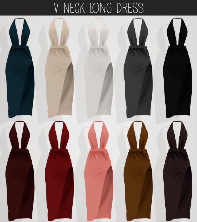 Sims 4 V neck long dress at Elliesimple