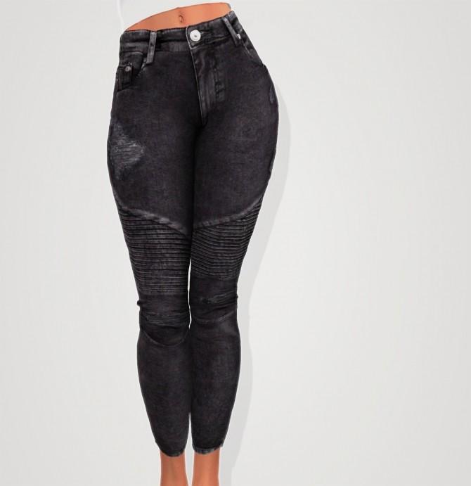 Sims 4 Skinny biker jeans at Elliesimple