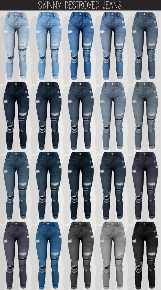 Sims 4 Skinny destroyed jeans at Elliesimple