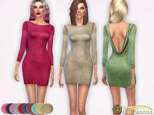 Sims 4 Deep Open back Metallic Dress by Harmonia at TSR