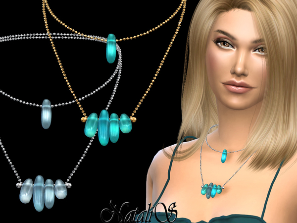 Sims 4 Double sea glasses necklace by NataliS at TSR