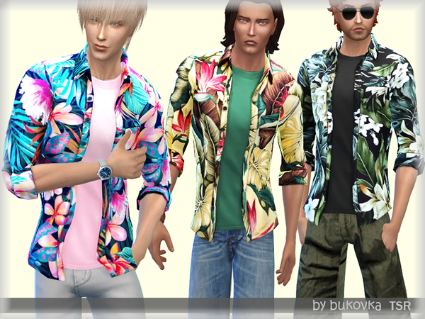 Sims 4 Hawaiian Shirt by bukovka at TSR