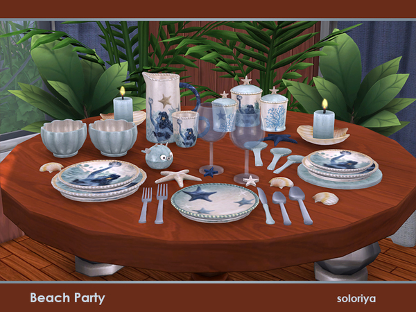 Sims 4 Beach Party decorative dishes set by soloriya at TSR