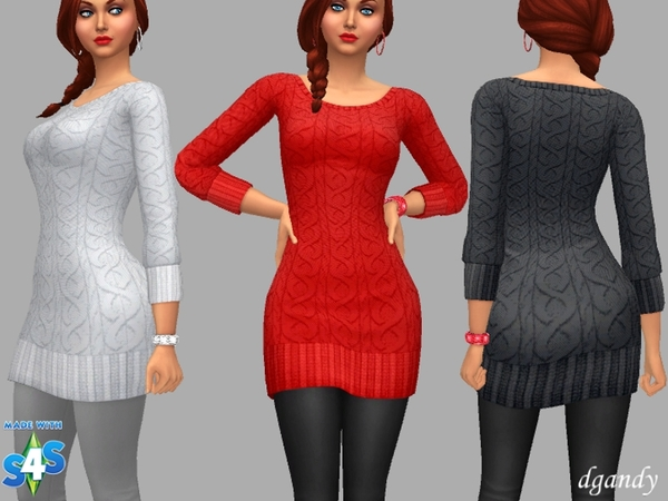 Sims 4 Holly Sweater Dress by dgandy at TSR